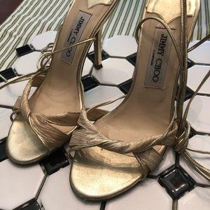 Jimmy Choo Ankle Tie Metallic Gold Sandals Heels